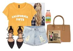 """""""I miss you summer please follow us💚💛"""" by hannahmcpherson12 ❤ liked on Polyvore featuring H&M, Prada and Sephora Collection"""