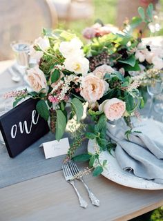 Grey and blue toned fall table decor: http://www.stylemepretty.com/2016/10/04/fall-wedding-trends/ Photography: Jose Villa - http://josevilla.com/