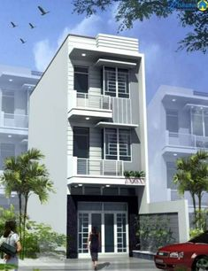 Flat House Design, 3 Storey House Design, Narrow House Designs, Narrow House Plans, Bungalow House Design, House Front Design, Small House Exteriors, Modern Exterior House Designs, Small Appartment