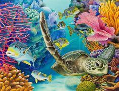 "Carolyn Steele tropical art print, scuba & snorkel, coral reef, sea turtle, sweetlips fish: ""Coral Canyon"""