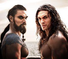 Jason Momoa as Khal Drogo and as Conan the Barbarian