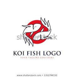 japanese koi fish logo with line art, monoline, outline concept design vector template illustration. Whale Logo, Fish Logo, Ticket Design, Japanese Koi, Logo Line, Graphic Design Inspiration, Line Art, Outline, Illustration