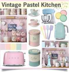 Vintage Pastel Kitchen by Pastel Kitchen Decor, Pastel Home Decor, Purple Kitchen, Turquoise Kitchen, Retro Kitchen Decor, Vintage Kitchen, 1950s Kitchen, Pastel Room, Pastel House