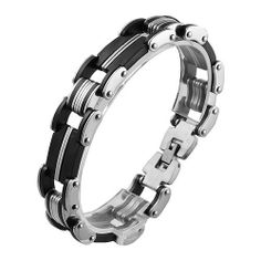 Stainless Steel and Black Rubber Bracelet (8 IN) . $8.99