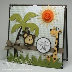 Cricut - Create a Critter - Safari Fun-ness! Boy Cards, Kids Cards, Cute Cards, Tarjetas Diy, Create A Critter, Kids Birthday Cards, Happy Birthday, Cricut Cards, Marianne Design