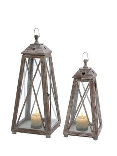 Pair of Wooden Lanterns by UMA at Gilt