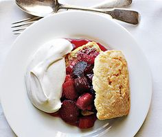 I haven't had rhubarb anything since my grandmother stopped making her strawberry rhubarb jam years ago. I need to try this. Rhubarb Shortcakes Recipe at Epicurious.com