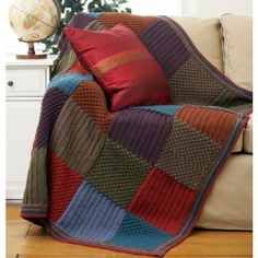 Harvest Colors Blanket (Knit Pattern): aran yarn and US 8 needles.