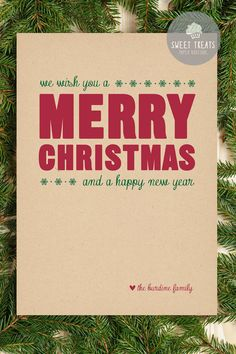 Rustic We Wish You a Merry Christmas Card by SweetTreatsPaper, $60.00