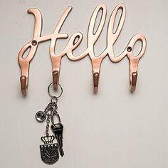 Hello Copper Key Holder for Wall – 4 Metal Key Hooks – Wall Mounted Key Hanger – Key Organizer Key Chain Hooks – Decorative Entryway Organization – Modern Decorative Key Rack - Key Box Holder, Mail And Key Holder, Wooden Key Holder, Key Chain Holder, Key Hooks For Wall, Wall Mounted Hooks, Mail Holder Wall, Key Holder For Wall, Laser Cutter Projects