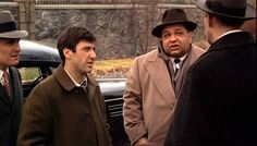 """Clemenza:  """"What's with all the new faces?""""  Tessio:  """"We'll need 'em now. After the hospital thing, Sonny got mad.  We hit Bruno Tattaglia at four o'clock this morning."""""""