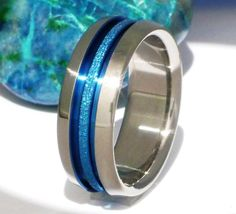 Thin Blue Line and Frost Titanium Wedding Band - b16