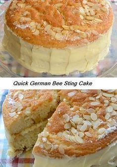This quick German cake has honey, almonds and 'bavarian' cream!