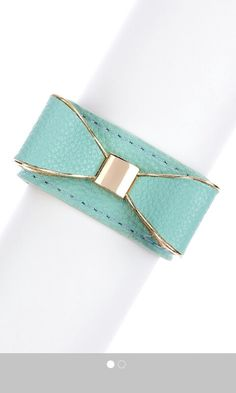 Blue teal leather cuff