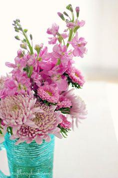 great mix of pink flowers