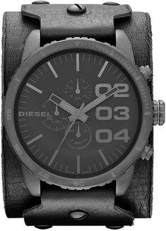 ShopStyle: DieselWatch, Men's Chronograph Black Leather Cuff Strap 51mm DZ4272