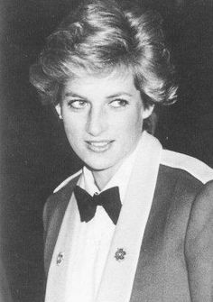 February 21, 1990: Princess Diana attends a regimental dinner of the Royal Hampshire Regiment in Winchester. She is wearing a mess jacket from Gieves and Hawkes.