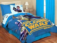 #oBedding - #Jay Franco and Sons Star Wars Full Comforter - Clone Wars Jedi Blanket Full-Double Size Bedding - AdoreWe.com