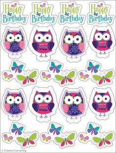 4-Stickerboegen-Trendy-Eule-Eulen-Geburtstag-Party-Deko-Kindergeburtstag