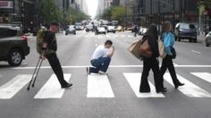 This guy was caught Tebowing in the middle of the street