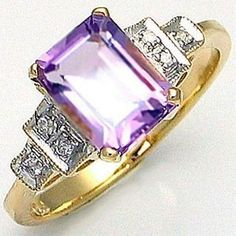 10K White and Yellow Gold Filled Purple Amethyst Ring - Size 6 #ring #jewelry #amethyst