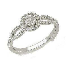 14K Solid White Gold 1/2 CT Diamond Frame Split Shank Engagement Ring #affinityjewelry #Engagement