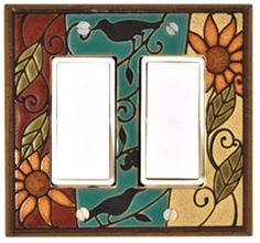 Mosaic Sunflower Wide Switch Plate by All Fired Up! American Made. See the designer's work at the 2016 American Made Show, Washington DC. January 15-17, 2016. americanmadeshow.com #switchplate, #birds, #americanmade, #americanmadeshow