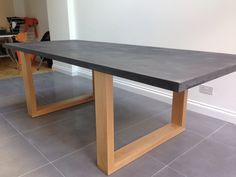 Zinc topped table with chunky oak legs, By Fine Balance Carpentry.