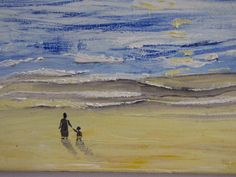 Walking on the beach Oil painting  16X16 inch.heavy by cheerlart