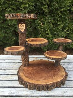 Large Log Black Walnut Wood Rustic Cake Cupcake Pie Stand Wedding 6 Tiered Tiers