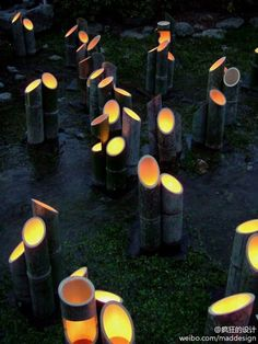 Sweet outdoor lighting. Could this be rigged up someway with say flashlights or candles in jars. If bamboo is unavailable, how about painted pvc pipe?