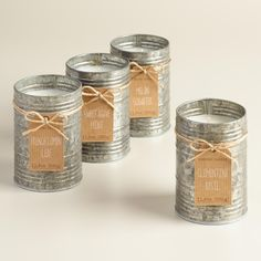 Hand-poured wax in a galvanized, antique-style metal tin freshens your kitchen with sweet agave and crisp mint scents. Rustic Serving Trays, Mint, Rustic Centerpieces, Tin Candles, Farmhouse Style Decorating, Affordable Home Decor, World Market, Metal Tins, Dose