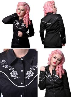 Western Girls Button Up Long Sleeve Rockabilly Shirt by Steady Clothing