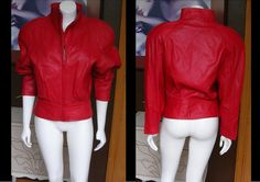 Vintage 1980s ANDREW MARC Red Textured Leather Jacket High Quality Excellent Condition by WestCoastVintageRSL, $124.00