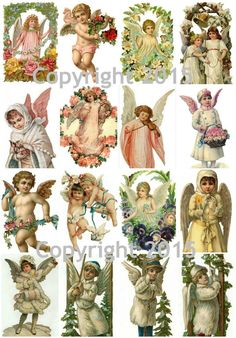 Use these lovely images for any of your art projects! - Angels assorted images collage sheet - Can be used for any art project, altered art, decoupage, jewelry etc - Professionally printed on medium w