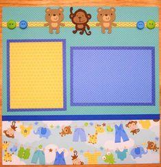 Baby Scrapbook Pages, Scrapbook Frames, Baby Boy Scrapbook, Scrapbook Titles, Birthday Scrapbook, Scrapbook Page Layouts, Scrapbooking Ideas, Scrapbook Templates, Scrapbook Sketches