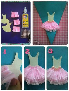 Dicas pra Mamãe Tips for Mom – Tips for children's parties, party favors, step by step and more! Ballerina Party Favors, Ballerina Birthday Parties, Baby Crafts, Diy And Crafts, Crafts For Kids, Diy Vestidos, Dance Crafts, Ballet Crafts, Diy Birthday Invitations