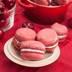 French cherry macaron, and both filling and shells are flavored cherry!