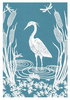 Commissioned heron papercutting 1/3 by Hazel Partridge