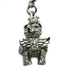 Princess Bear- 4151, Silver, white Rhodium, CZ, Sapphire eyes & heart. RRP$199