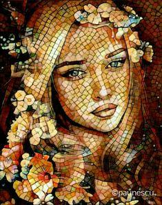 Mosaic Tile Art, Mosaic Artwork, Art Pierre, Mosaic Portrait, Paper Wall Art, Mural Art, Fantastic Art, Rock Art, Unique Art