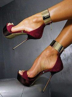 Whoa!! The silver cuffs really make these heels pop!