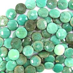 """15mm faceted green #chrysoprase coin #beads 7.5"""" #strand,  View more on the LINK: http://www.zeppy.io/product/gb/2/201683290023/"""