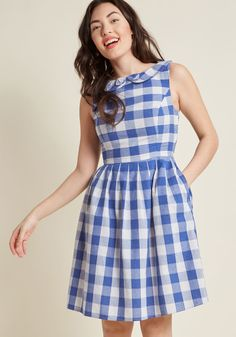 Kindly Invited Cotton A-Line Dress - Anywhere your presence is requested, the invitation extends to this cotton dress from our ModCloth namesake label! Given vintage-inspired flair with a dainty bow layered atop its Peter Pan collar, a tailored bodice, hidden pockets, and crisp pleats, this blue-and-white checkered A-line is the perfect plus one.