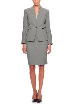 On ideel: TAHARI ARTHUR S. LEVINE Inverted Lapel Skirt Suit with Leather Trim Pockets