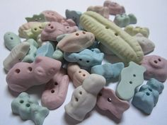 Cutie sweet buttons in sugary porcelain colours by Julie Pettitt