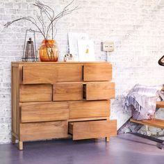 TIKAMOON - Commode en bois de teck 10 tiroirs Milano | La Redoute