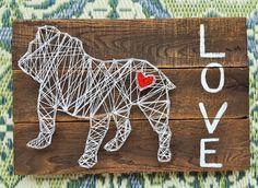 English Bulldog String Art by StuckLIKEglueJB on Etsy