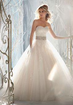Dramatic Ball Gown Sweetheart Tulle Empire Waist Floor Length Wedding Gown - 1300103271B - US$249.99 - BellasDress