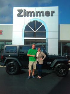 Here are Clayton and Blair Hicks with their new 2014 Jeep Wrangler Unlimited Sport!  The blackout package really makes this ride stand out from the rest.  Trail or town you two are ready to tackle it all!   Thank you for your business!  Jeep makes the Wrangler Unlimited and Zimmer makes the difference! www.zimmermotors.com